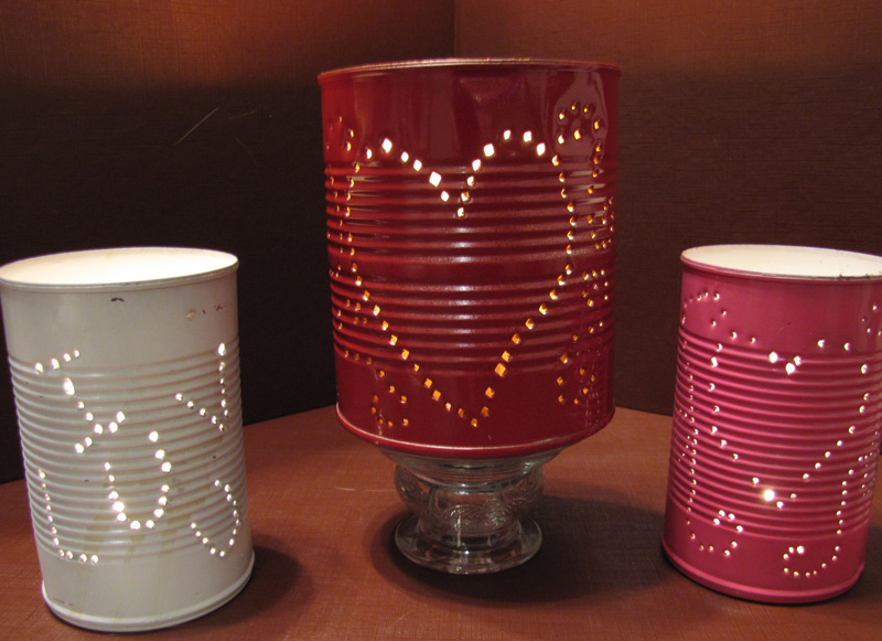 punched tin candleholders for valentines day